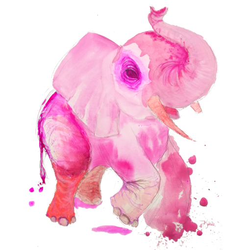 Maalattu vaaleanpunainen elefantti.